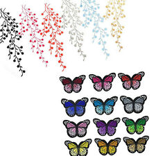 DIY Embroidered Cloth Iron On Patch Sew Motif Plum Blossom Flower / Butterfly
