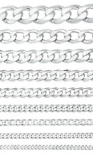 """3mm-19mm Men's/Women's Solid 925 Sterling Silver Cuban Link Curb Chain 7""""-40"""""""