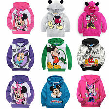 Kids Boy Girl Mickey Minnie Long Sleeves Hoodies T-Shirt Top Sweatshirt Coat
