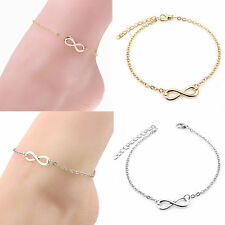 Hot Lady Gold Silver Chain Ankle Anklet Bracelet Infinity Sandal Beach Foot Gift