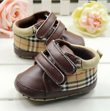 Baby Boy Girl Brown Plaid Soft Sole Crib Shoes Sneakers Size 0-6 6-12-18 Months