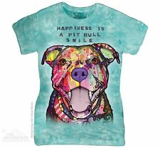 PIT BULL SMILE Womens T-Shirt Happy Pitbull Adopt Dog The Mountain Top S-2XL NEW