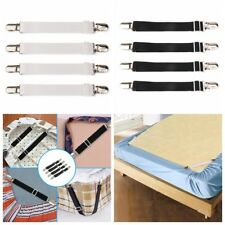 Set of 4 Bed Sheet Grippers Straps Fasteners Hold Grips Elastic Clips Suspender