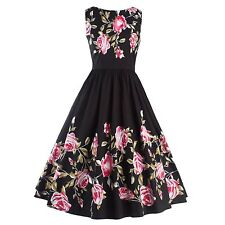 Women 1950'S 60'S Vintage Style Floral Printed Rock Cocktail Party Swing Dress