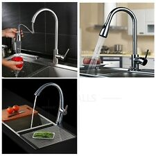 Kitchen Sink Mixer Tap Pull Out Hand Spray Faucet Chrome Or Nickel Brushed New