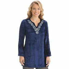 Velvet Embellished Beaded Neckline Tunic, by Collections Etc