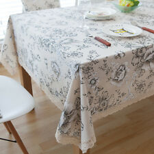 Quality White Peony Flower Bar Coffee Table Cotton Linen Cloth Covering Ous