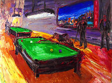 MUSEUM ART Original OIL Pool Table Art Arthur Robins NYC Billiards Painting NoRs