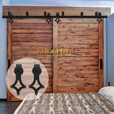 5-10FT Bypass Sliding Barn Wood Door Hardware Track Kit Black Bypass 2 doors,USA