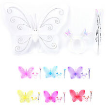Set Girls Fairy Costume Butterfly Party Wings Wand Princess Headband Beauty a8