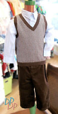 NWT Boys 3 Piece Outfit by Boutique Collection Brown and Blue 18M 24M