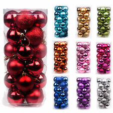 24x Christmas Party Ball Baubles Glitter Xmas Tree Hanging Ornament Party Decor