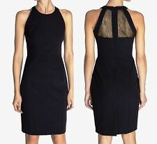 NEW Karen Millen Structured Tailored Dress Black Gold Lace Evening Size 10 38