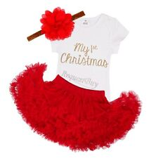 Xmas 3Pcs Newborn Baby Girls Rompers Top+Tutu Skirt+Outfits+Headband Clothes Set
