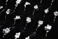 FREE Wholesale Lots Crystal Of Rhinestone Silver Plated wedding Rings jewelry