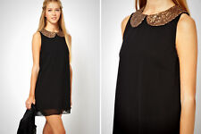 Womens Asos Sleeveless Black Skater Shift Dress Sequin Collar Dress UK 8