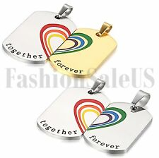Stainless Matching Hearts Lover's Couple's Rainbow Dog Tag Pendant Necklace 2pcs