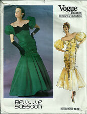 Vogue 1819 Bellville Sassoon Pattern Ruched Evening Gown Dress Balloon Sleeves