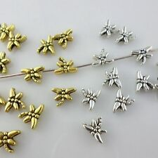 120/1000pcs Tibetan Gold/Silver Charms Dragonfly Spacer Beads 6x8mm