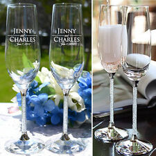 Personalized Crystal Toasting Champagne Glasses Wedding Gift Party Event Favors