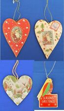Gisela Graham Hanging Christmas Tree Decoration Hearts Bird Glitter Heart