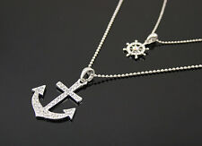 Silver anchor rudder Rhinestone Oceans chain & pendant necklace