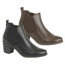 Ladies New Brown Or Black Twin Gusset Heeled Chelsea Slip On Ankle Boots 3 - 8