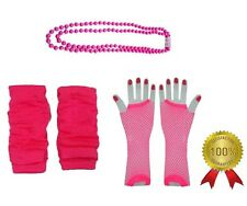 Neon Pink Legwarmers Fishnet Gloves Bead Necklace 1980s Fancy Dress Costume Set