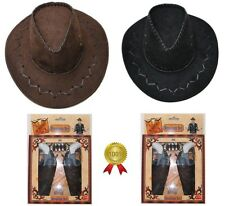 Toy Pistol Gun Set & Cowboy Stetson Hat Wild West Cowboy Fancy Dress Costume
