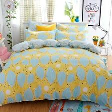 Twin Double Queen Bed Set Pillowcase Quilt Duvet Cover Yellow Leaves Ous