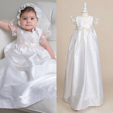 Vintage New Baby Infant Baptism Christening Gown Communion Dress Bless White Hot