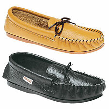 Mens New Black Or Tan Softie Leather Moccasin Gordon Slip On Slippers UK 3 - 13