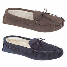 Mens Navy Blue Or Dark Taupe Real Suede Jake Moccasin Slip On Slippers UK 6 - 12