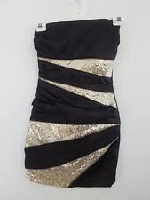 Ladies Short Zip Strapless Evening Dress with Sequin Black/Gold Approx Size 8-10