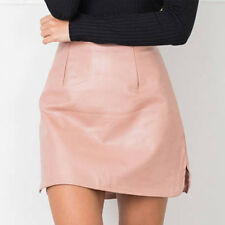 Womens PU Leather Skirts High Waist Sexy Vintage A-Line Office Bodycon Skirts