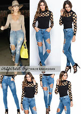 New Women's Ladies Sexy Acid Wash Ripped Skinny Jeans Size 6 8 10 12 14