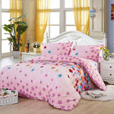 Pink Flowers Twin Double Queen King Bed Set Pillowcase Quilt Duvet Cover Ous