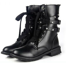 Womens Punk Lace Up Flats Rivet Buckle Winter Army Military Biker Combat Boots