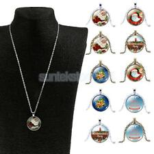 New Christmas Santa Claus Bell Xmas Cabochon Glass Chain Pendant Necklace