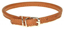 """Rolled Leather Dog Collar. Finest Quality. Chrome. VERY Soft, BROWN Size 9""""-24"""""""