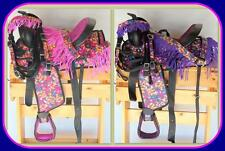 "13"" Western Synthetic Pony Saddle Trail Pleasure 4pc PINK PURPLE Butterfly Print"