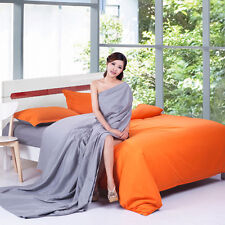 Orange Grey Twin Double Queen King Bed Set Pillowcases Quilt Duvet Cover Ous