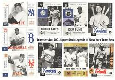 2001 Upper Deck Legends of New York Baseball Team Sets ** Pick Your Team Set **