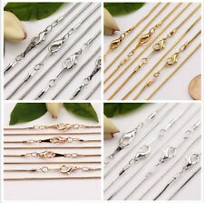 5Pcs Gold/Silver Plated Lobster Clasp Snake Chain Necklace Jewelry Making 43CM