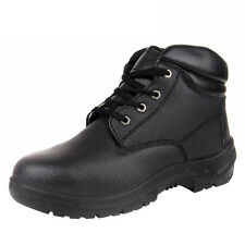PAS Mens Black Leather Safety Shoes Anti Puncture Welding Ankle Boots Work Boots