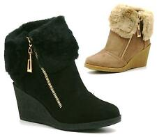 New Womens Fur Cuff Ankle Boots Ladies Wedge Platforms Winter Shoes Size Uk 3-8