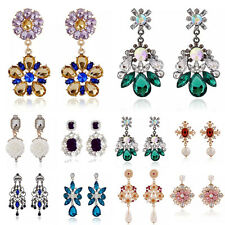 Fashion 1Pair Women Colorful Crystal Pearl Flower Rhinestone Earrings Jewelry