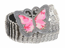 "1 3/4"" Butterfly Engraving Elastic Sequent Metal Stretch Belt"