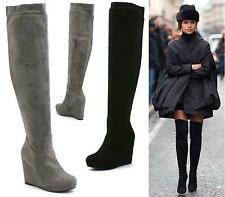 Ladies Black Faux Suede Pull On Zip Sexy Over The Knee Thigh High Wedge Boots