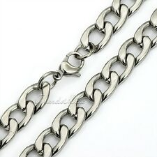 "18-36"" MENS BOYS Stainless Steel 11mm Silver Tone Curb Cuban Link Chain Necklace"